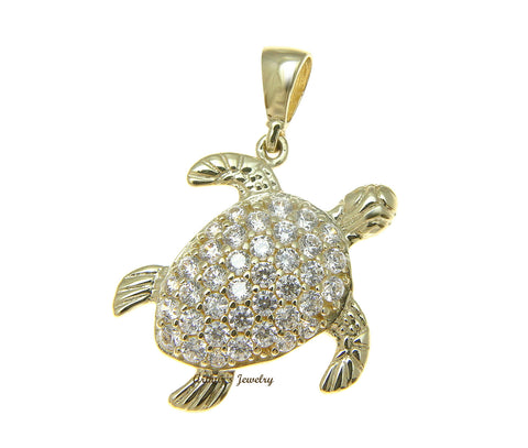 SOLID 14K YELLOW GOLD SPARKLY HAWAIIAN SEA TURTLE BLING CZ CHARM PENDANT