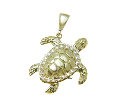 SOLID 14K YELLOW GOLD SHINY HAWAIIAN SEA TURTLE BLING CZ CHARM PENDANT