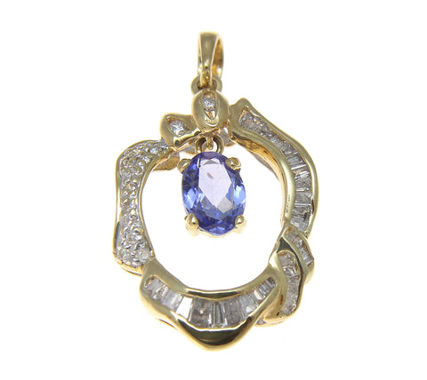 0.85CT GENUINE OVAL TANZANITE DIAMOND PENDANT SET IN 18K YELLOW GOLD