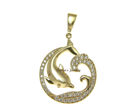 SOLID 14K YELLOW GOLD HAWAIIAN DOLPHIN OCEAN WAVE SLIDE PENDANT CZ