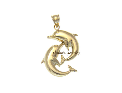 SOLID 14K YELLOW GOLD SHINY HAWAIIAN SWIMMING DOLPHIN CHARM PENDANT 17MM