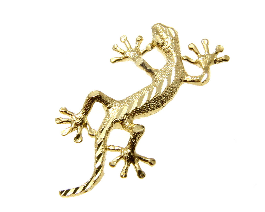 SOLID 14K YELLOW GOLD HAWAIIAN DIAMOND CUT GECKO LIZARD CHARM PENDANT MEDIUM