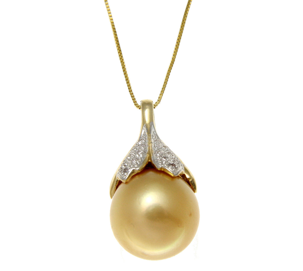 13.55MM SOUTH SEA GOLDEN PEARL DIAMOND SLIDER SOLID 14K YELLOW GOLD PENDANT