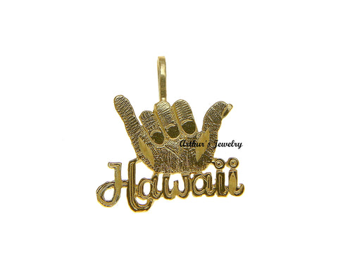 "SOLID 14K YELLOW GOLD HAWAIIAN ""SHAKA"" HANG LOOSE ""HAWAII"" CHARM PENDANT 15.80MM"
