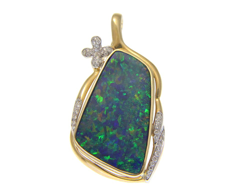 GENUINE AUSTRALIAN OPAL DIAMOND PENDANT ENHANCER SOLID 14K YELLOW GOLD 23MM