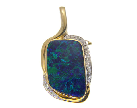 GENUINE AUSTRALIAN OPAL DIAMOND PENDANT ENHANCER SOLID 14K YELLOW GOLD 19.60MM
