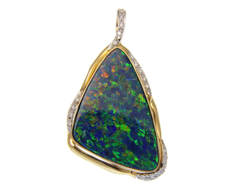 GENUINE AUSTRALIAN OPAL DIAMOND PENDANT ENHANCER SOLID 14K YELLOW GOLD 26.20MM