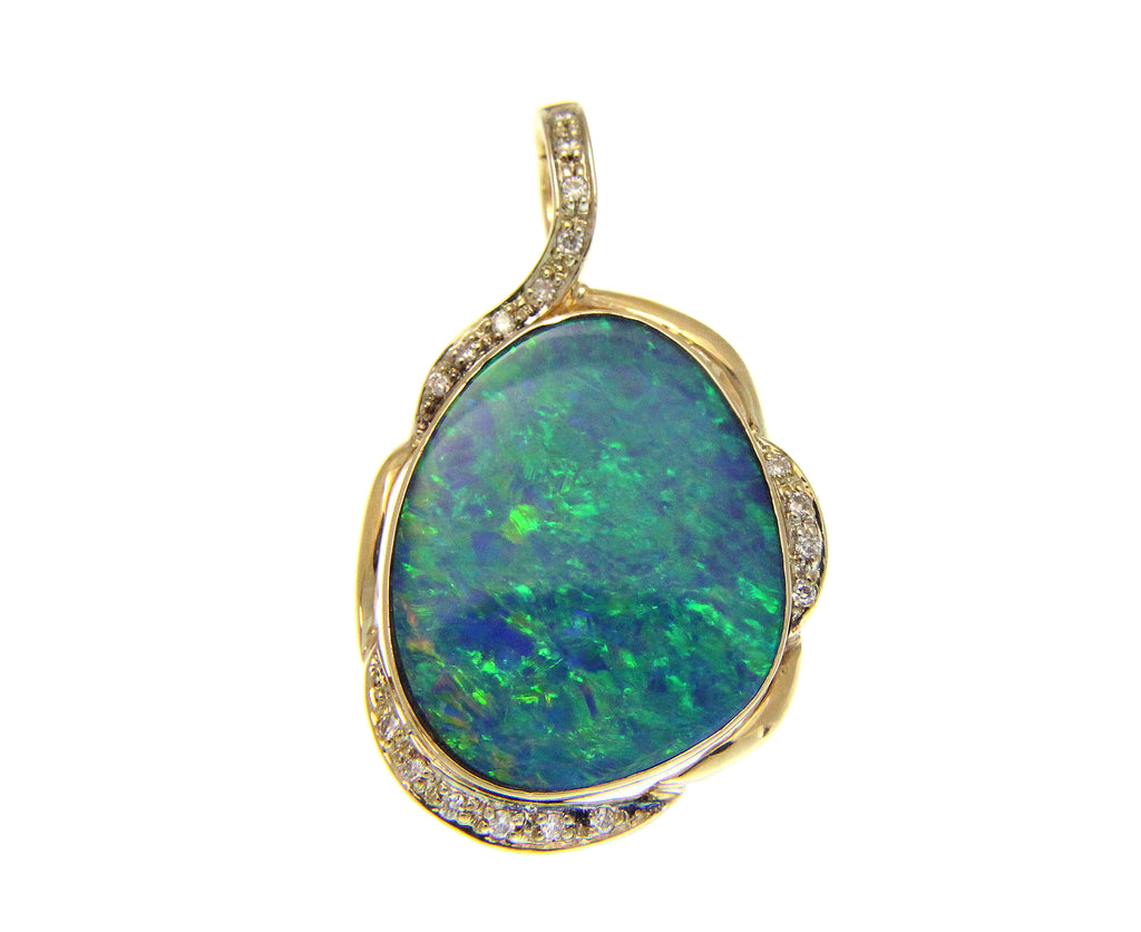 GENUINE AUSTRALIAN OPAL DIAMOND PENDANT ENHANCER SOLID 14K YELLOW GOLD 25.30MM