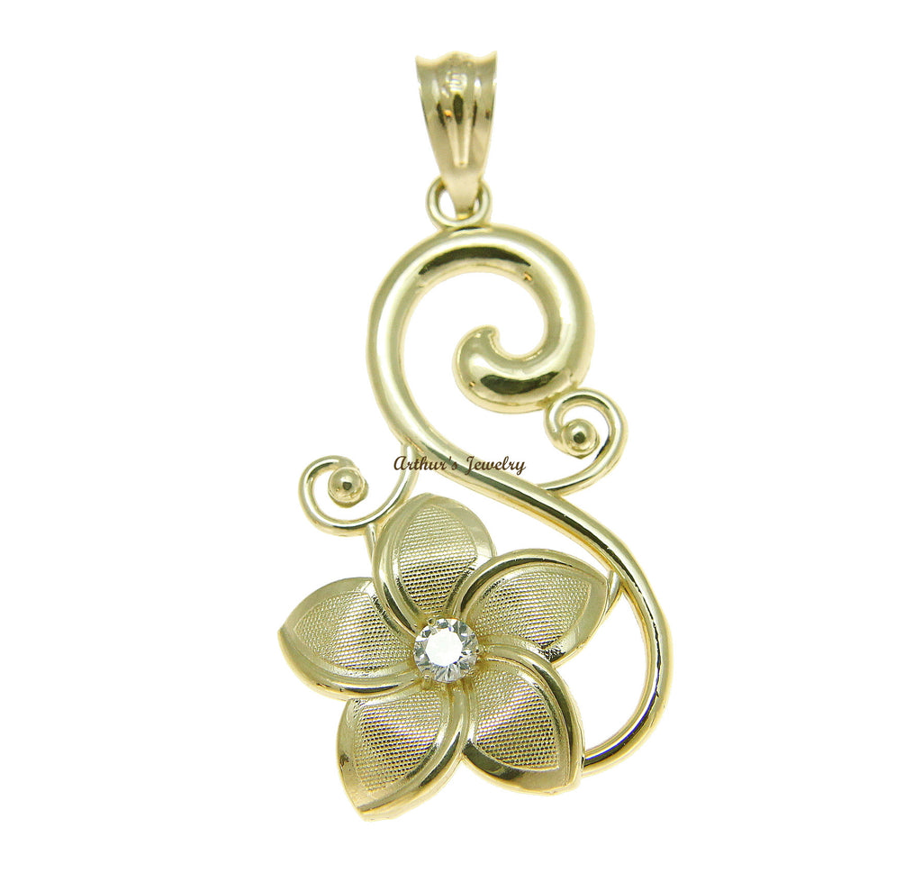 SOLID 14K YELLOW GOLD 15MM HAWAIIAN PLUMERIA FLOWER DESIGN PENDANT