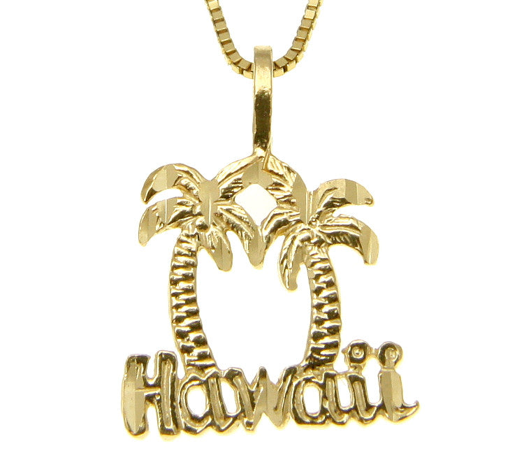 14K SOLID YELLOW GOLD DIAMOND CUT HAWAIIAN PALM TREE HAWAII CHARM PENDANT