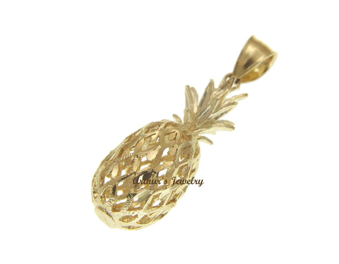 SOLID 14K YELLOW GOLD 3D HAWAIIAN DIAMOND CUT PINEAPPLE CHARM PENDANT 11.4MM