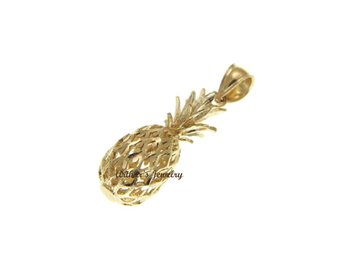 SOLID 14K YELLOW GOLD 3D HAWAIIAN DIAMOND CUT PINEAPPLE CHARM PENDANT 9.2MM