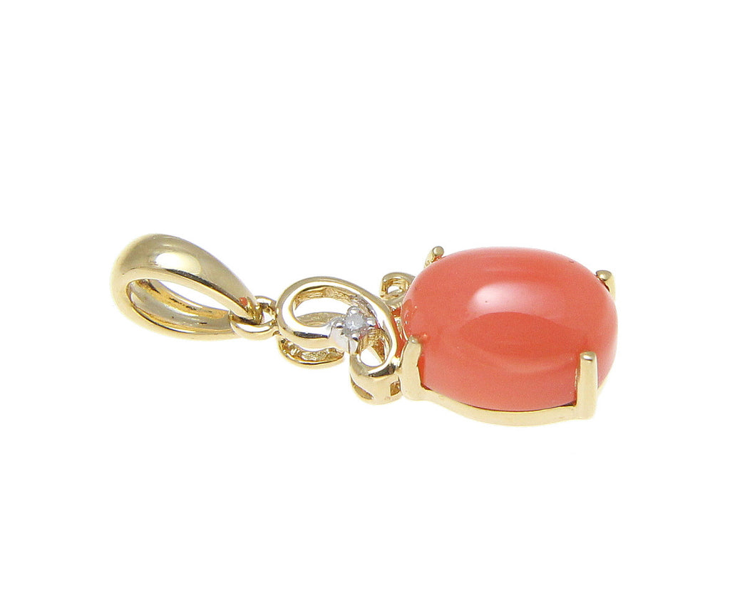GENUINE NATURAL PINK CORAL DIAMOND PENDANT SOLID 14K YELLOW GOLD SMALL 6MM