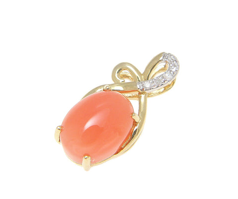 GENUINE NATURAL PINK CORAL DIAMOND PENDANT SOLID 14K YELLOW GOLD SMALL 7MM