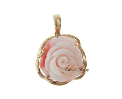 GENUINE NATURAL WHITE PINK CORAL CARVED FLOWER PENDANT ENHANCER 14K YELLOW GOLD
