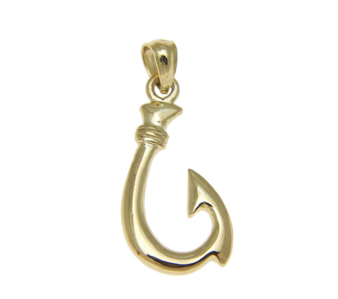 SOLID 14K YELLOW GOLD 2 SIDED HIGH POLISH HAWAIIAN FISH HOOK CHARM PENDANT 11MM
