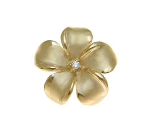 28MM SOLID 14K YELLOW GOLD HAWAIIAN PLUMERIA FLOWER DIAMOND SLIDER PENDANT