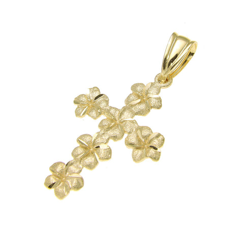 14K SOLID YELLOW GOLD SPARKLY HAWAIIAN PLUMERIA FLOWER CROSS PENDANT 15MM