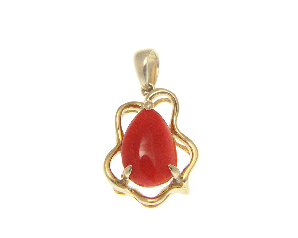 GENUINE NATURAL PEAR SHAPE RED CORAL PENDANT SOLID 14K YELLOW GOLD 11.60MM
