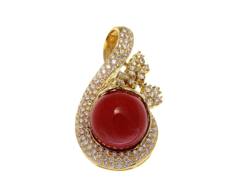 GENUINE NATURAL 12.20MM RED CORAL BALL DIAMOND PENDANT SLIDE 18K YELLOW GOLD
