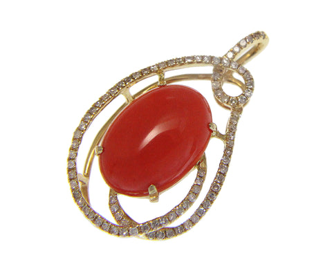 GENUINE NATURAL OVAL CABOCHON PINK CORAL DIAMOND SLIDE PENDANT 14K YELLOW GOLD
