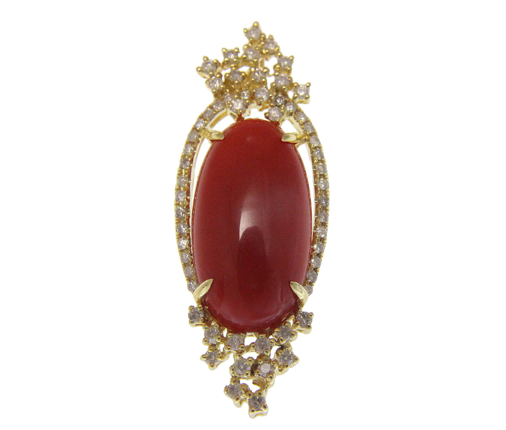 GENUINE NATURAL CABOCHON RED CORAL DIAMOND SLIDE PENDANT 14K YELLOW GOLD