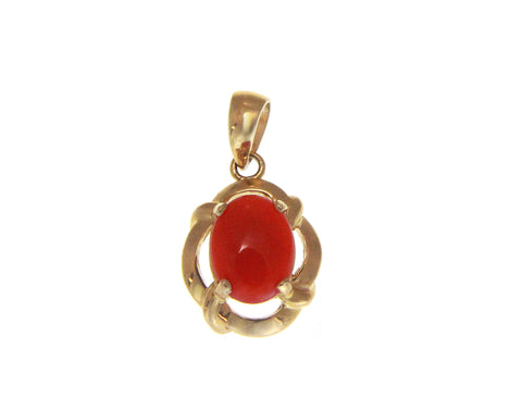 GENUINE NATURAL OVAL CABOCHON RED CORAL PENDANT SOLID 14K YELLOW GOLD