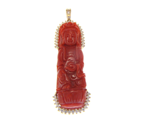 GENUINE NATURAL RED CORAL KWAN YIN DIAMOND PENDANT SOLID 14K YELLOW GOLD