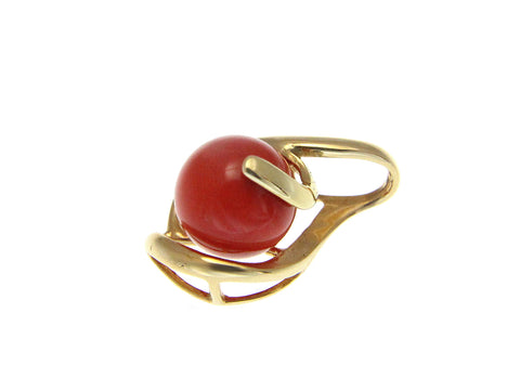 GENUINE NATURAL DEEP PINK CORAL BALL PENDANT SLIDE SOLID 14K YELLOW GOLD