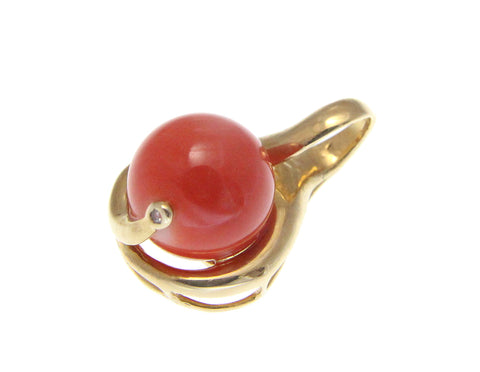 GENUINE NATURAL PINK CORAL 10.70MM BALL DIAMOND PENDANT SOLID 14K YELLOW GOLD