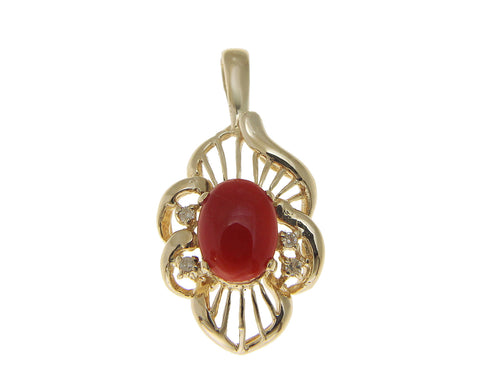 GENUINE NATURAL OVAL CABOCHON RED CORAL DIAMOND SLIDE PENDANT 14K YELLOW GOLD