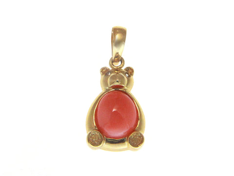 GENUINE NATURAL PINK CORAL DIAMOND PENDANT SOLID 14K YELLOW GOLD TEDDY BEAR