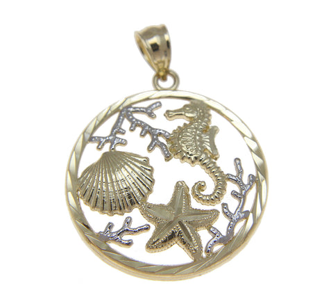 SOLID 14K YELLOW WHITE GOLD HAWAIIAN SEAHORSE STARFISH SHELL PENDENT DIAMOND CUT
