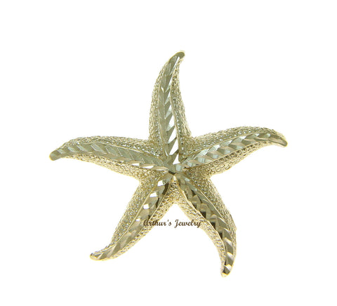 SOLID 14K YELLOW GOLD DIAMOND CUT HAWAIIAN SEA STAR STARFISH SLIDE PENDANT 28MM