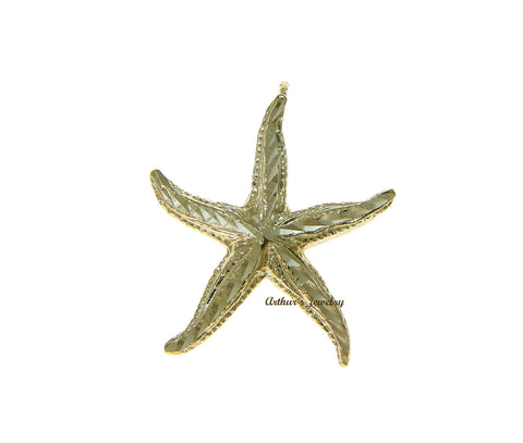 SOLID 14K YELLOW GOLD DIAMOND CUT HAWAIIAN SEA STAR STARFISH SLIDE PENDANT 20MM