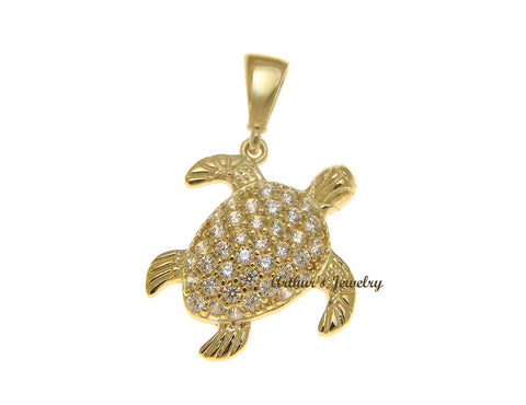 SOLID 14K YELLOW GOLD SPARKLY HAWAIIAN SEA TURTLE BLING CZ CHARM PENDANT 13.65MM
