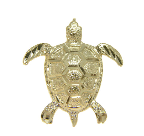 SOLID 14K YELLOW GOLD HAWAIIAN DIAMOND CUT SEA TURTLE SLIDE PENDANT 26.70MM