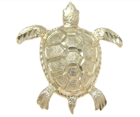 SOLID 14K YELLOW GOLD HAWAIIAN DIAMOND CUT SEA TURTLE HONU SLIDE PENDANT 33.80MM