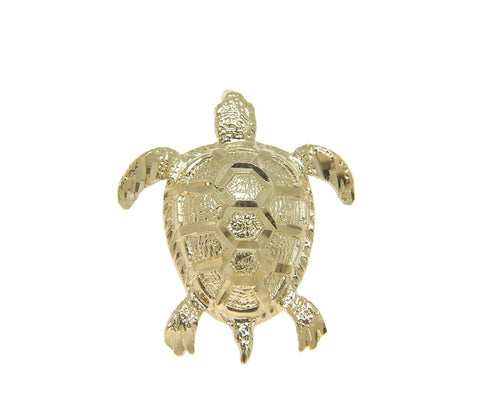 SOLID 14K YELLOW GOLD HAWAIIAN DIAMOND CUT SEA TURTLE SLIDE PENDANT 19.85MM