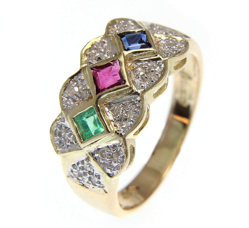 in sapphire emerald pin diamond asian ring jewellers ruby silver