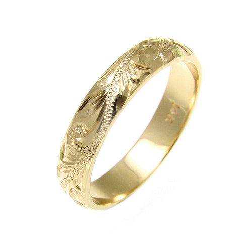 SOLID 14K YELLOW GOLD CUSTOM HAND ENGRAVE HAWAIIAN PLUMERIA SCROLL BAND RING 4MM