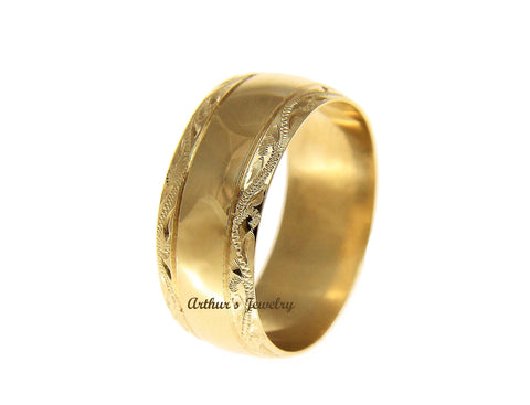 SOLID 14K YELLOW GOLD HIGH POLISH CUSTOM HAND ENGRAVED HAWAIIAN SCROLL RING 8MM
