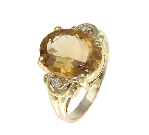 GENUINE 4.72CT OVAL CITRINE & DIAMOND SOLITAIRE RING SOLID 14K YELLOW GOLD