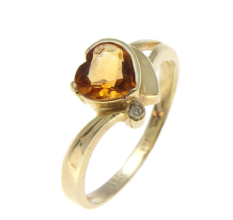 GENUINE 0.80CT HEART CITRINE & DIAMOND SOLITAIRE RING SOLID 14K YELLOW GOLD