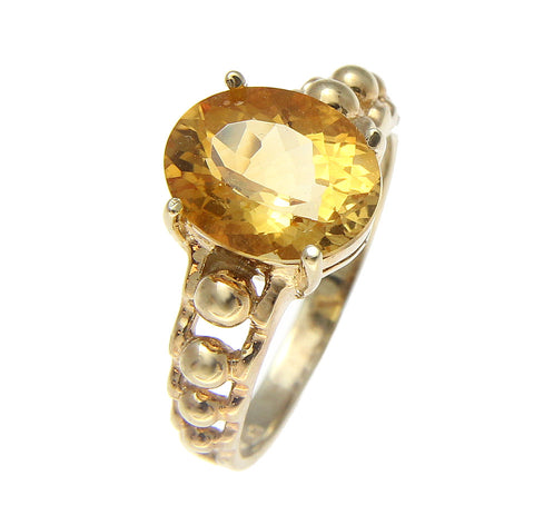 GENUINE 2.40CT OVAL CITRINE SOLITAIRE RING SOLID 14K YELLOW GOLD
