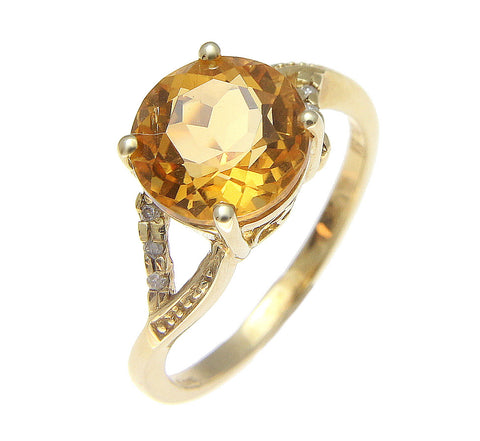 GENUINE 2.60CT ROUND CITRINE & DIAMOND SOLITAIRE RING SOLID 14K YELLOW GOLD