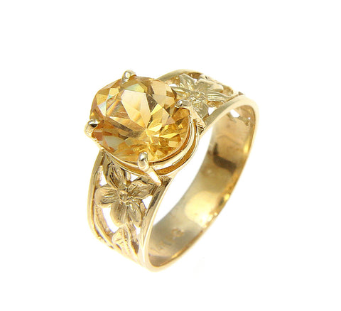 GENUINE 2.40CT OVAL CITRINE SOLITAIRE RING 14K YELLOW GOLD HAWAIIAN PLUMERIA