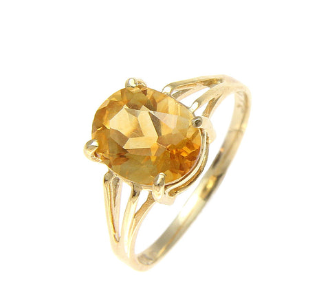 GENUINE 1.80CT OVAL CITRINE SOLITAIRE RING SOLID 14K YELLOW GOLD