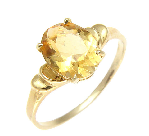 GENUINE 1.70CT OVAL CITRINE SOLITAIRE RING SOLID 14K YELLOW GOLD