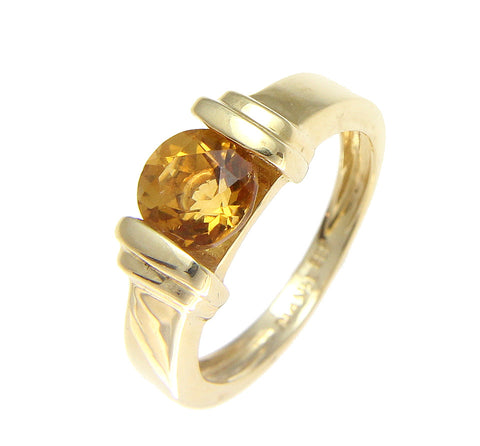 GENUINE 1.00CT ROUND CITRINE SOLITAIRE RING SOLID 14K YELLOW GOLD